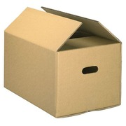 Moving box with handles brown kraft double undulation H 35 x W 50 x D 28 cm
