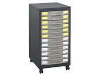 Desserte mobile Office 12 tiroirs anthracite/taupe