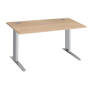 Straight desk W 140 cm light oak adaptable in height undercarriage Metal Plus Excellens
